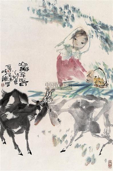 山乡早春 立轴 设色纸本 - 129243 - 中国书画 - 2007秋季大型艺术品拍卖会 -收藏网
