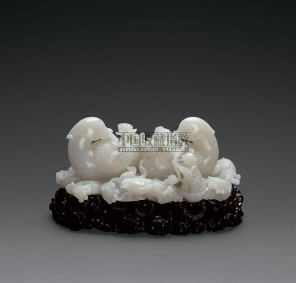白玉雕鸳鸯童子摆件 - - 玉器 翡翠 - 2007春季拍卖会 -中国收藏网