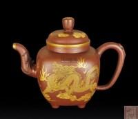 堆彩云龙火珠纹紫砂壶 -  - 瓷器、玉器、杂项 - 2012年台湾艺术品专场拍卖会 -收藏网