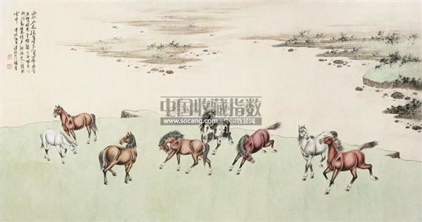 八马图 镜片 纸本 - - 中国书画(五)艺海拾贝专场 - 2011年首届春季大