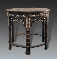 清   红木镶螺钿半圆桌一对 -  - 明清古典家具专场 - 明清古典家具专场拍卖会 -收藏网