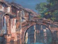 陈逸飞 2004年作  苏州水乡NO.1 - 陈逸飞 - 中国油画雕塑 - 2006秋季拍卖会 -中国收藏网