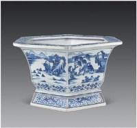 青花六方人物纹花盆 -  - 瓷器 玉石 - 2007春季艺术品拍卖会 -收藏网