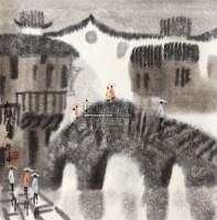 水镇春雨 立轴 设色纸本 - 127698 - 中国书画(一) - 2011年夏季拍卖会 -收藏网