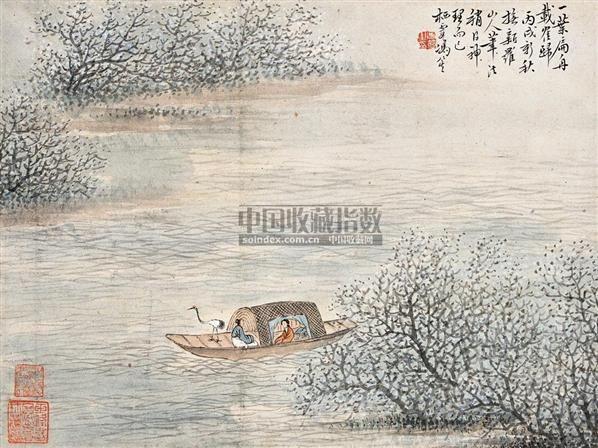 一叶扁舟山水人物 镜心 设色纸本 - 140139 - 中国近现代书画 - 2006