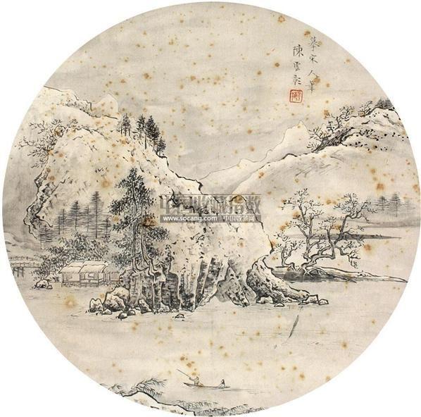 山水 立轴 绢本 - 5014 - 扇画小品专题 - 庆二周年秋季拍卖会 -中国收藏网