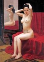 红地毯上系发少女 布面 油画 - 李丝云 - 油画、雕塑、版画暨广东油画、水彩 - 2006冬季拍卖会 -收藏网