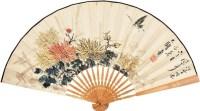 花蝶图 成扇 纸本 - 116019 - 中国书画 - 2011秋季拍卖会 -收藏网
