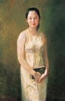 读圣经的女郎 布面 油画 -  - 油画、雕塑、版画暨广东油画、水彩 - 2006冬季拍卖会 -收藏网