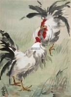 鸡斗图 镜片 设色纸本 - 汪亚尘 - 小品、成扇专场 - 2011秋季艺术品拍卖会 -收藏网