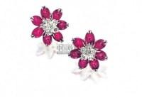 """天然红宝石配钻石""""花形""""耳环 (一对) -  - 珠宝翡翠 - 2010年春季拍卖会 -收藏网"""