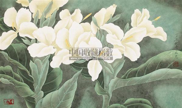骆兆虎 工笔花卉 镜片 设色纸本图片