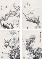 梅兰竹菊 镜心 水墨纸本 - 卢坤峰 - 中国书画(二) - 2007春季大型艺术品拍卖会 -收藏网
