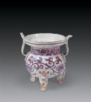 元 釉里红小香炉 -  - 瓷杂专场 - 2006年秋季艺术品拍卖会 -收藏网
