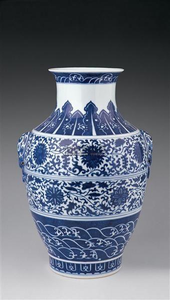 青花缠枝莲纹兽耳罐 -  - 瓷器 玉器 杂项 - 2006年夏季拍卖会 -收藏网