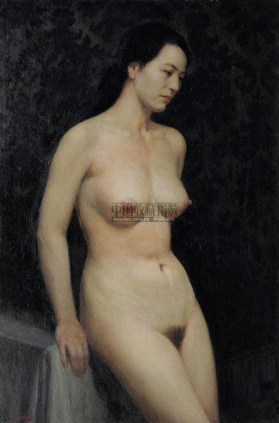 蓝背景前的女人体 木板油彩 - 10302 - 中国油画(一) - 2006年中国艺术品春季拍卖会 -收藏网