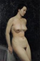 蓝背景前的女人体 木板油彩 - 张祖英 - 中国油画(一) - 2006年中国艺术品春季拍卖会 -收藏网
