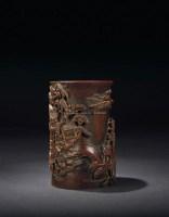清·竹雕笔筒 -  - 文房清玩·古玩杂件专场 - 西泠印社2009五周年庆典拍卖会 -收藏网
