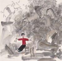 张立柱 拐纱图 镜心 - 张立柱 - 当代中国书画(二) - 2006畅月(55期)拍卖会 -收藏网