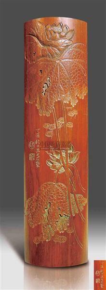 朱少谷款竹雕荷花纹臂搁 -  - 艺术珍玩 - 十周年庆典拍卖会 -收藏网