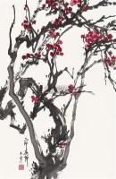 红梅 镜心 设色纸本 - 128053 - 中国书画(二)—香雪梅魂·于希宁保真专场 - 2011春季艺术品拍卖会 -收藏网