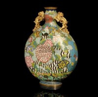 A CLOISONNE ENAMELLED AND GILT BRONZE MOONFLASK,EARLY 19TH CENTURY -  - 中国进出口瓷器 - 2009秋季拍卖会(二) -收藏网