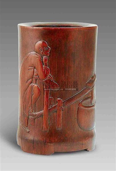 马大年制竹雕人物笔筒 -  - 艺术珍玩 - 十周年庆典拍卖会 -收藏网