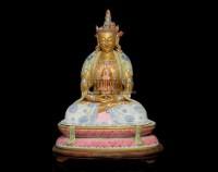 A FAMILLE ROSE FIGURE OF AMITAYUS,QIANLONG (1736-1795) -  - 中国进出口瓷器 - 2009秋季拍卖会(二) -收藏网