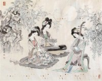 三音和月 镜心 设色纸本 -  - 当代书画 - 2011春睡轩中国名家书画精品秋季拍卖会 -收藏网