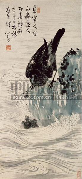 溥儒 CROW AND TURTLE hanging scroll - 1518 - 张宗宪收藏中国书画 - 2007年秋季拍卖会 -收藏网
