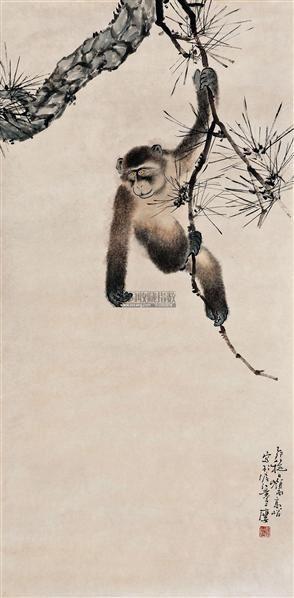 松猿图 纸本设色 - 4997 - 书画 - 2012新年艺术品拍卖会 -收藏网