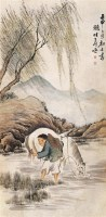 沈子丞 1992年作 浴马图 立轴 设色纸本 - 沈子丞 - 中国书画 - 2006秋季文物艺术品展销会 -收藏网