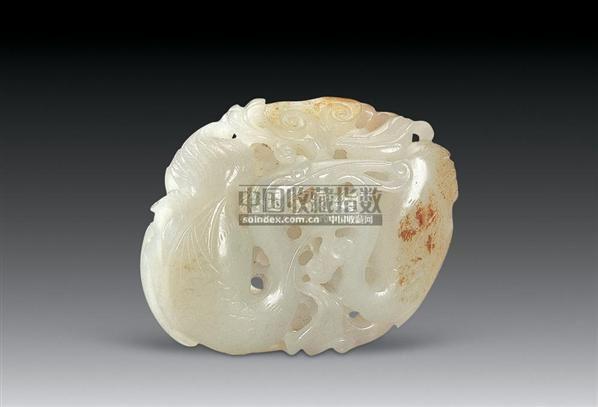 清白玉双鹤灵芝 -  - 中国玉器专场 - 2008首届秋季大型古玩书画拍卖会 -收藏网