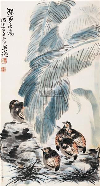 绿雨集禽 立轴 设色纸本 - 139807 - 中国书画 - 2005首届书画拍卖会 -中国收藏网