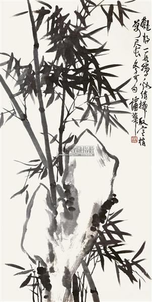 竹石图 立轴 水墨纸本 - 8107 - 中国书画(一) - 2011年夏季拍卖会 -收藏网
