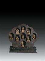 紫檀木雕九目佛龛(九尊铜鎏金佛) -  - 卧松斋藏传佛教珍品专题 - 2007春季拍卖会 -中国收藏网