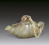 青玉雕竹节带链盖壶 -  - 华艺专场 - 2011年拍卖会 -收藏网