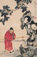 沈子丞 1924年作 拜石图 立轴 设色纸本 - 沈子丞 - 中国书画(二) - 2006畅月(55期)拍卖会 -收藏网
