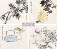 斗方 (四幅) 镜心 纸本 - 134378 - 中国书画 - 2011春季艺术品拍卖会 -收藏网