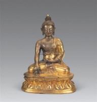 清中期 铜鎏金释迦牟尼佛像 -  - 妙音天籁-佛教艺术品 - 2006年秋(十周年)拍卖会 -收藏网