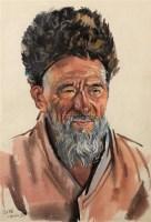 维吾尔老人 水彩 - 靳尚谊 - 中国油画 - 2006秋季艺术品拍卖会 -中国收藏网