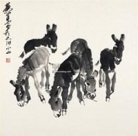 五驴图 镜心 水墨纸本 - 7693 - 中国书画(二) - 2011年秋季拍卖会 -中国收藏网