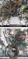 意笔花草 (二帧) 纸本彩墨 - 韩伟华 - 油画 - 2010春季大型艺术品拍卖会 -收藏网