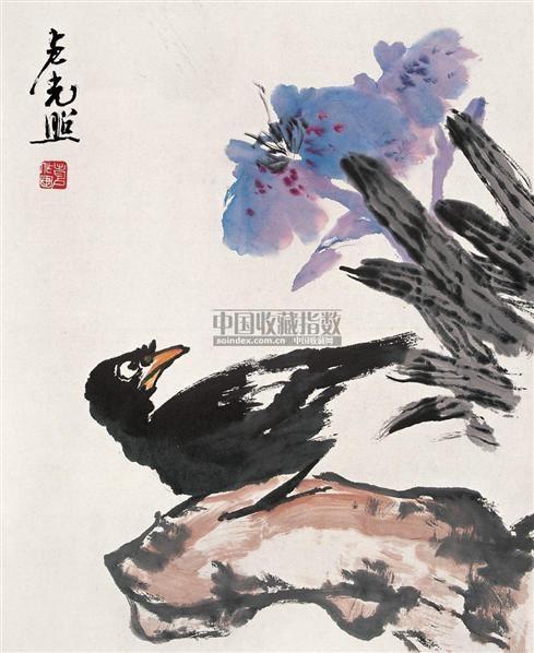 八哥 镜心 设色纸本 - 137281 - 中国近现代书画 - 2006冬季拍卖会 -收藏网