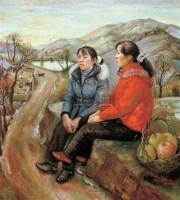 野草滩的姐妹 布面  油画 - 140648 - 油画 版画 - 2006秋季艺术品拍卖会 -中国收藏网