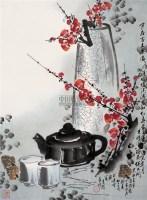 红梅 立轴 设色纸本 - 米景扬 - 中国书画 - 艺术品拍卖会(第60期) -收藏网
