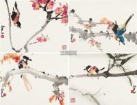 四季花鸟 (四件) 镜片 设色纸本 - 135045 - 中国书画 - 2011秋季拍卖会 -中国收藏网