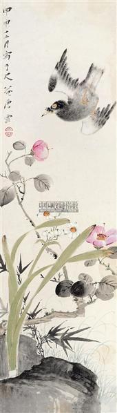 花鸟 镜片 设色纸本 - 117343 - 近现代中国书画 - 2011秋季艺术品拍卖会 -收藏网
