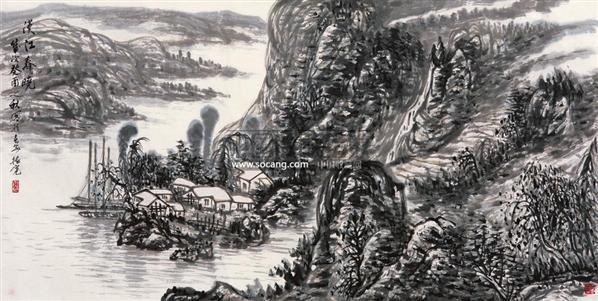 汉江春晓 镜心 水墨纸本 - 114802 - 中国画当代名家精品 - 2005首届中国画当代名家精品拍卖会 -收藏网