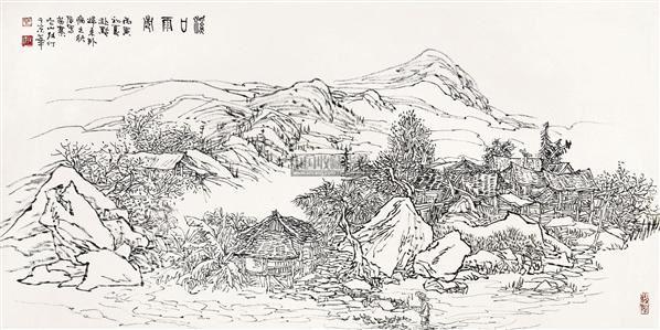 山水 镜片 水墨纸本 - 21956 - 中国书画(一) - 五周年秋季拍卖会 -收藏网